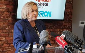 National Party leader Judith Collins announces the party's $4b transport infrastructure plan for Wellington and the Hutt Valley, on 5 August 2020.