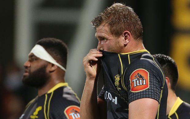 Wellington No.8 Brad Shields looks on despondently