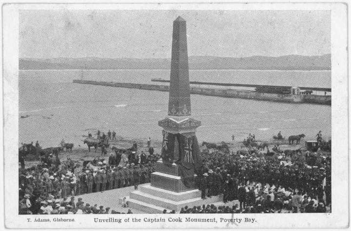 A postcard of the 1906 unveiling of the Captain Cook monument, Kaiti, Gisborne