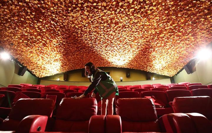The floral ceiling at Matakana Cinemas