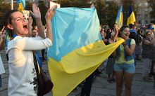 Ukrainian women at a rally in support of the Ukrainian Army and the defence of against pro-Russian rebels.
