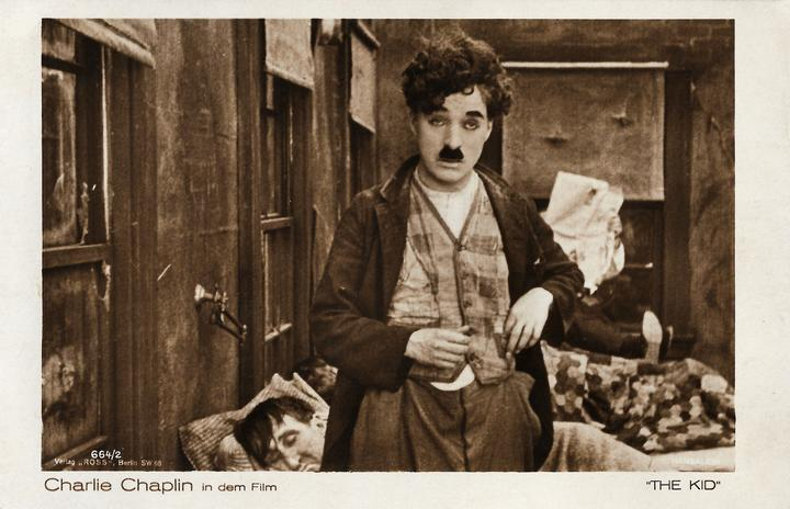 Postcard of Charlie Chaplin's film The Kid