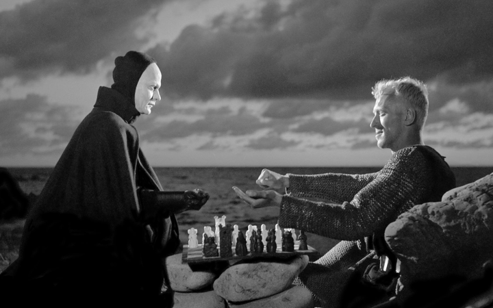 A shot from Ingmar Bergman's film The Seventh Seal