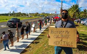 Protesters on Guam call for the preservation of cultural relics.
