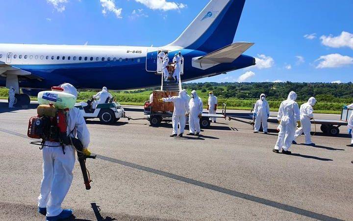 Strict Covid-19 prevention protocols are in place for incoming cargo in Vanuatu. April 2020.
