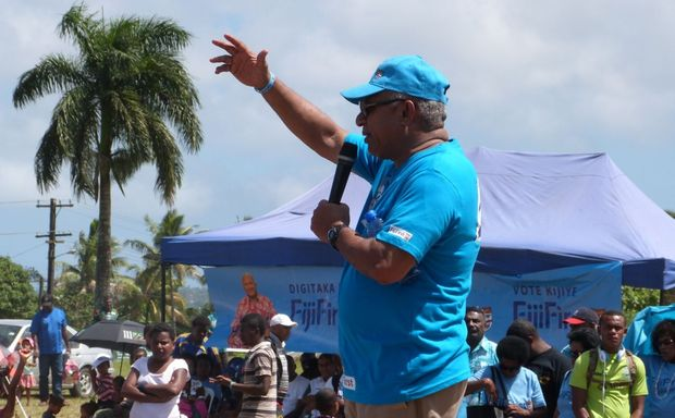 Fiji First leader Frank Bainimarama addresses the rally in Suva.