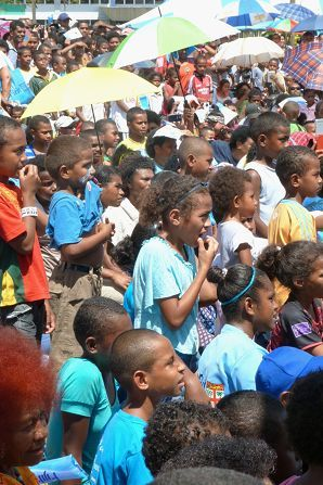 The crowd at the Fiji First rally in Suva listens to speakers.