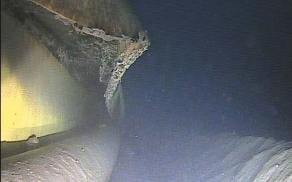 MBIE tender picture showing damage to the Tui 2H Flowline blamed for November's oil spill.