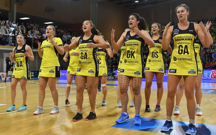 The Pulse perform a Haka after their win ANZ Premiership Grand Final win on the 3rd of June 2019.