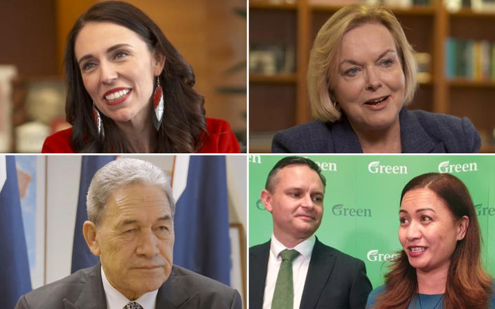 Labour leader Jacinda Ardern, National leader Judith Collins, New Zealand First leader Winston Peters, and Green co-leaders James Shaw and Marama Davidson.