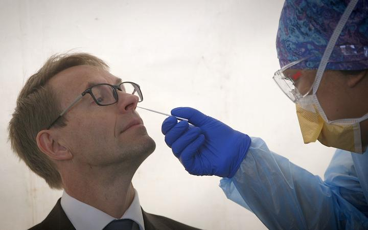 Director General of Health Dr Ashley Bloomfield getting tested for Covid-19 coronavirus