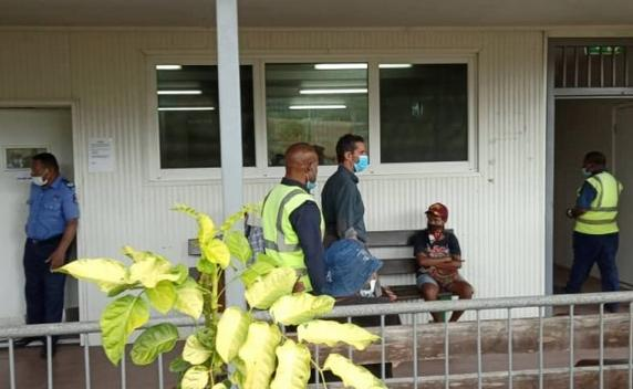52-year old Italian citizen and captain of the yacht MV Badu, Carlos Attansio. heads to court in Papua New Guinea, charged with smuggling drugs, 11 August 2020 .