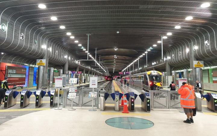 Auckland's Britomart station was virtually empty of commuters this morning.