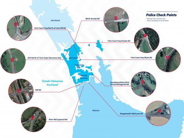 The checkpoints implemented by police in Auckland under alert level 3.