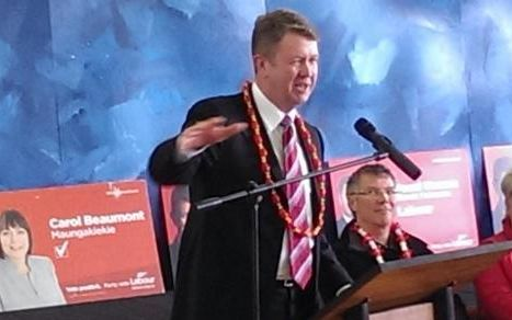 David Cunliffe addressing around 200 Labour supporters at Panmure in Auckland.