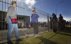 There has been a mad rush of Rotorua residents to the community based Covid assessment centre on Vaughan Rd. Michelle Bloor, (left), and Maggie Waters wait in line to be tested.   12 August 2020 Rotorua Daily Post Photograph by Ben Fraser