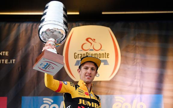 George Bennett of Team Jumbo Visma wins the Gran Piemonte in Italy 2020.