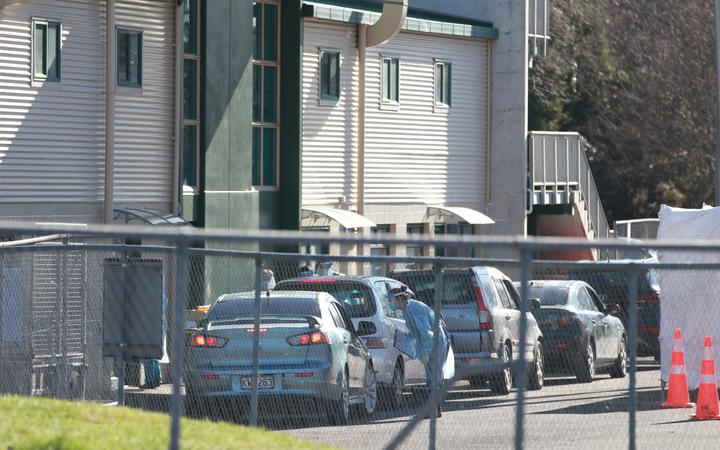 Covid coronavirus testing station at the Rotorua International Stadium in Rotorua.