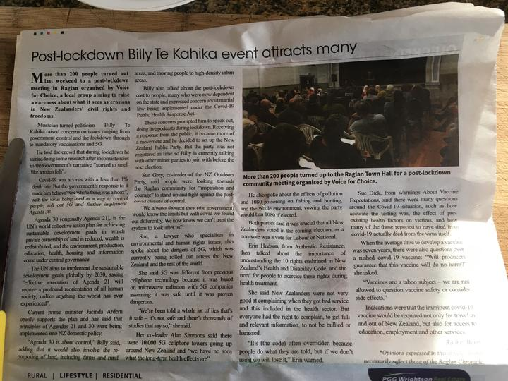 An article in the Raglan Chronicle after a NZ public Party meeting there in July.