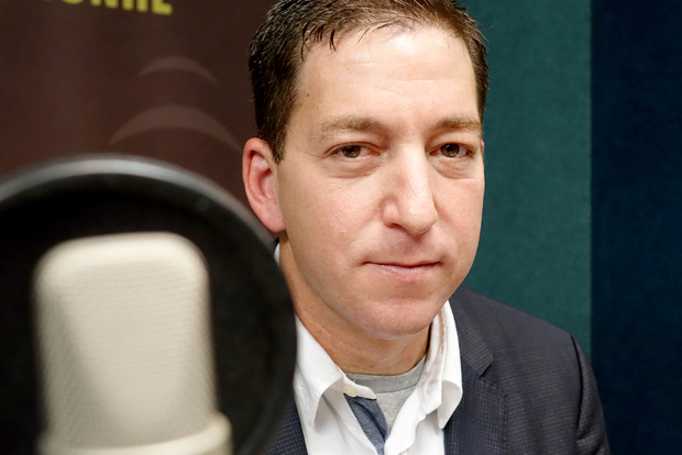 Journalist Glenn Greenwald in Radio New Zealand's Auckland studio.
