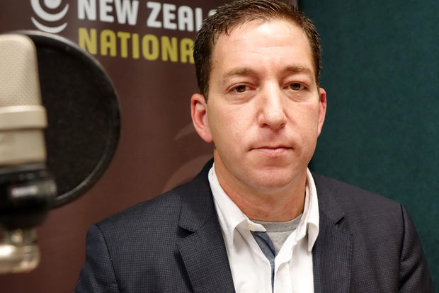 Glenn Greenwald in Radio New Zealand's Auckland studio.