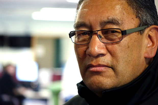 Hone Harawira in the Radio New Zealand Auckland Newsroom.