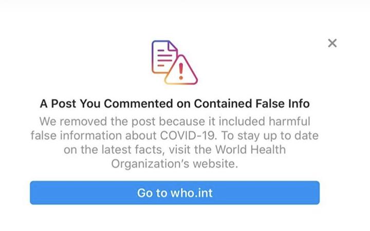 Instagram Covid-19 coronavirus warning
