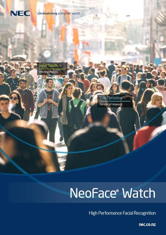 "The front cover of NEC NZ's brochure advertising its facial recognition capability. It says it is ""particularly close"" to the  NZ Police."