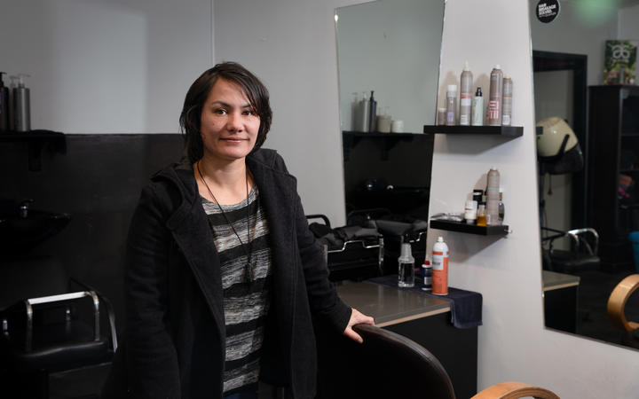 Northcote electorate voter Kathy Mavaia. Photographed in her local salon, Venus Hair Design.