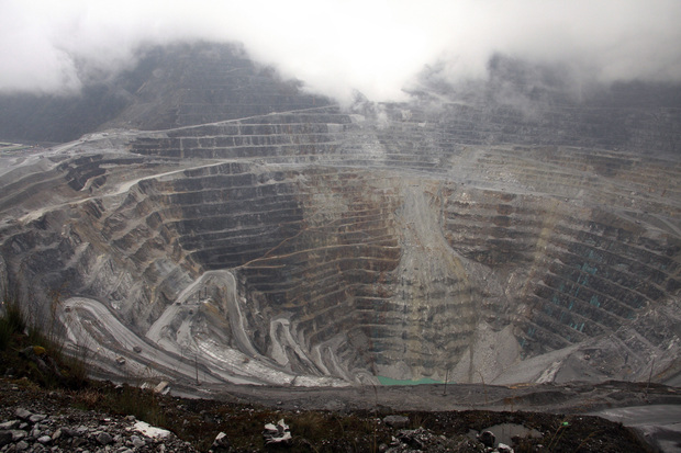 The Freeport McMoran mine near Grasberg, West Papua