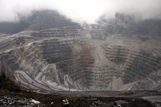 The Freeport McMoran mine near Grasberg, West Papua