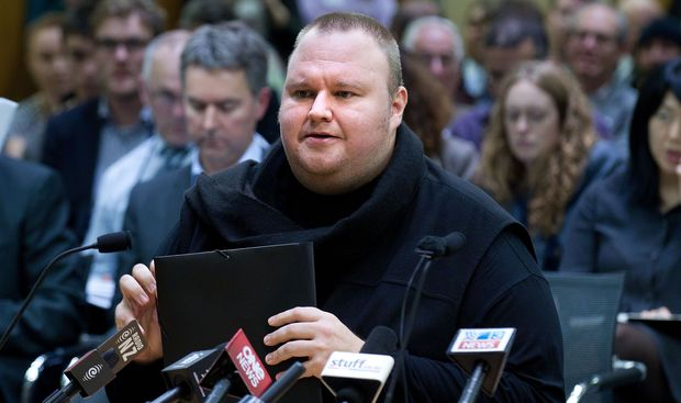 Kim Dotcom at the parliamentary committee hearing on GCSB legislation in July 2013.