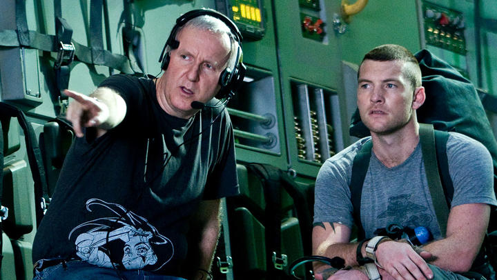 James Cameron directing Avatar star Sam Worthington in 2009