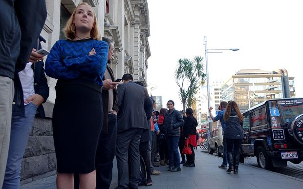 Queues formed outside the Auckland town hall ahead of Kim Dotcom's 'Moment of Truth' event.
