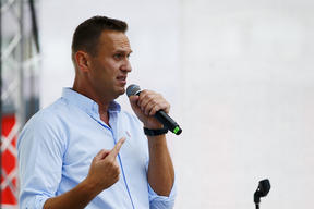 Russian opposition leader Alexei Navalny during a a rally last year.