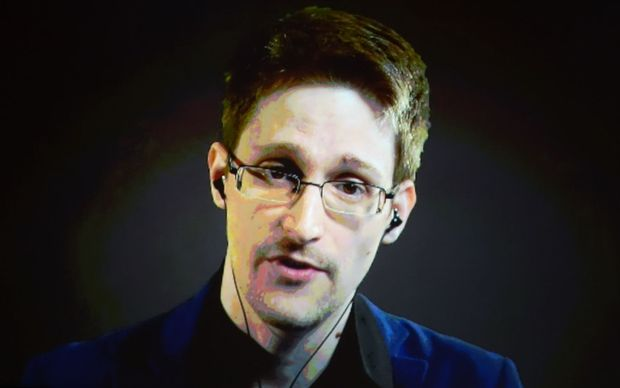 Edward Snowden talking via video link.