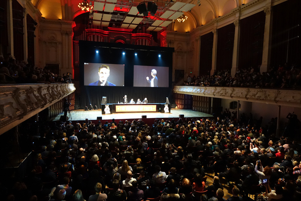 Edward Snowden appears via internet link at Auckland's Town Hall.