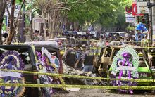 The aftermath of the 2002 Bali bombings, which claimed 202 lives.