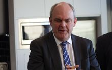 Steven Joyce visiting Silver Fern Farms headquarters in Dunedin on Tuesday 16 September.