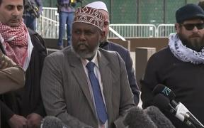 Muslim leaders speak to media after the mosque shooter's sentencing was handed down.