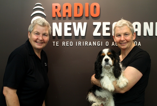 The Topp Twins in the Radio New Zealand Auckland studios.