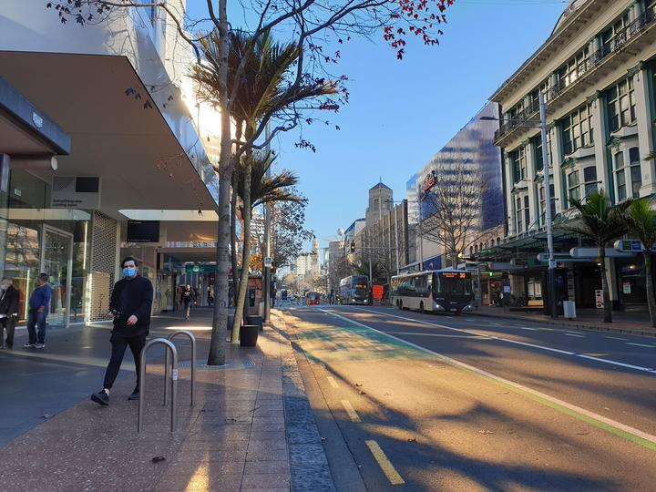 The usually bustling Queen Street in Auckland during level 3 lockdown.