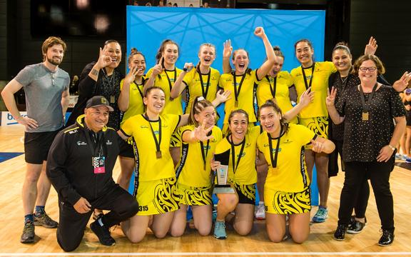 Central Manawa celebrates winning the Beko Netball League Grand Final at Horncastle Arena, Christchurch, New Zealand, 19th May 2019.Copyright photo: John Davidson / www.photosport.nz