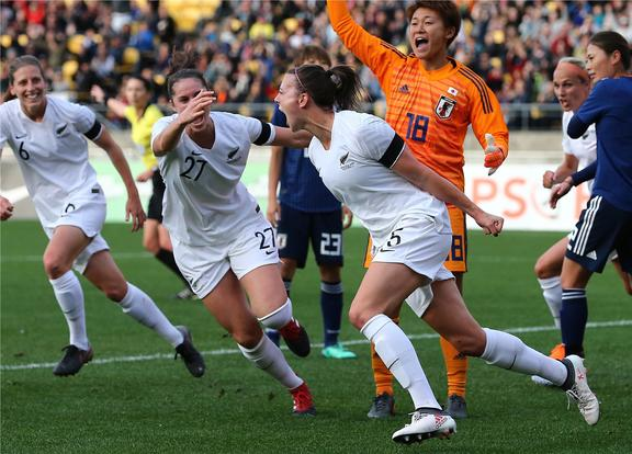 Football Ferns Meikayla Moore celebrates her goal during the international football friendly. New Zealand Football Ferns V Japan. Westpac Stadium, Wellington. Sunday 10th June 2018.