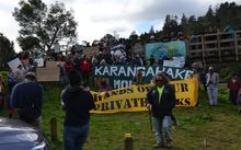 Iwi, residents and Coromandel electoral candidates took part in the demonstration.