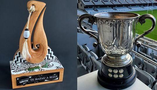 The new Te Matau a Māui trophy (left) and the Loving Cup (right).
