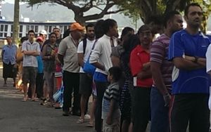 Voters in Fiji wait for the polls to open.