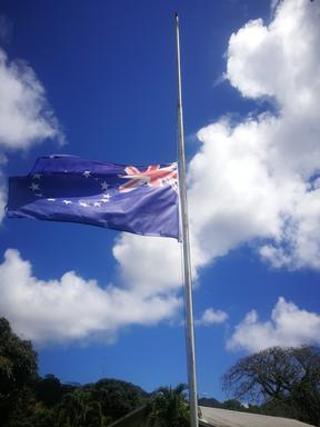 Cook Islands flags flying at half-mast
