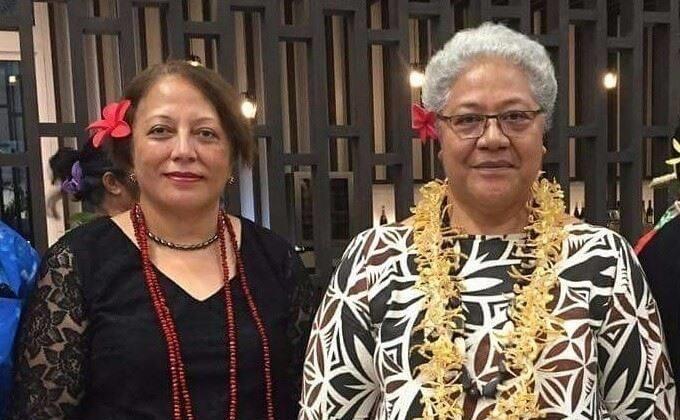 Amelia Kinahoi-Siamomua with Samoa's Deputy Prime Minister Fiame Naomi Mata'afa.
