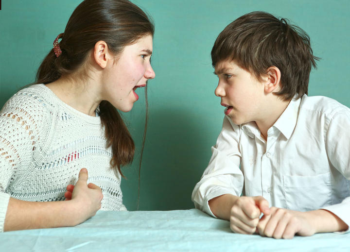 teen siblings boy and girl arguin close up photo